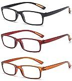 VEVESMUNDO Lesebrillen Damen Herren Sehr leicht Flexibel TR90 Rechteckig Retro Lesehilfe Sehhilfe Brille mit Stärke 10 15 20 25 30 35 40 (3 Farben(Schwarz+Rot+Braun), 4.0)