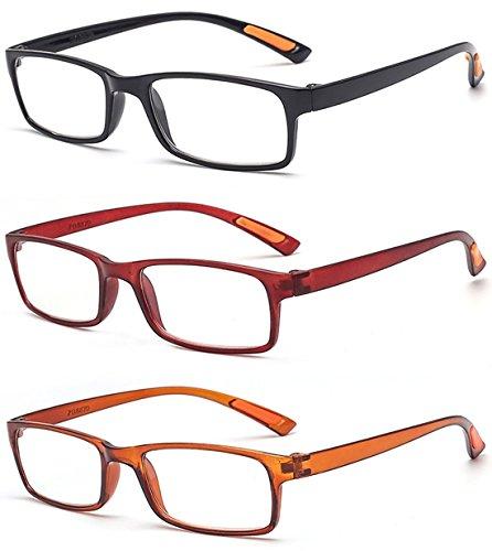 VEVESMUNDO Lesebrillen Damen Herren Sehr leicht Flexibel TR90 Rechteckig Retro Lesehilfe Sehhilfe Brille mit Stärke 10 15 20 25 30 35 40 (3 Farben(Schwarz+Rot+Braun), 2.5)