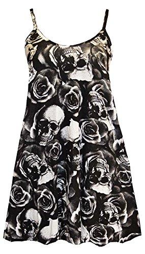 À bretelles pour femme Imprimé Spaghetti Swing robe pour femme Tailles 36–50 Multicolore - Rose Skull