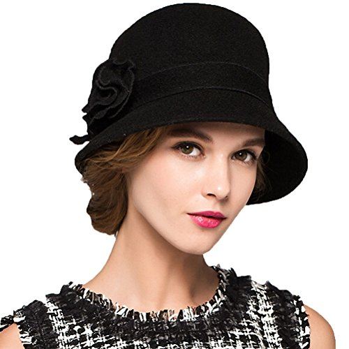 Hut Für Erwachsene Wollfilz (Maitose™ Damen Wollfilz Blumen Kirche Bowler Hüte)