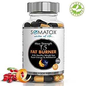 SOMATOX T5 FAT BURNER - Natural Weight Loss • Burn Fat • Slimming Diet Pills • Boost Energy • Thermogenic Supplement ? Max Strength 1300mg / 90 Veg Caps 30 Day Supply ? Made In UK (FREE eBOOK)