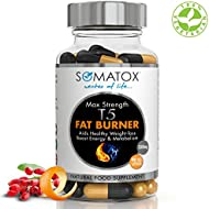 SOMATOX T5 FAT BURNER ★ Ultimate Max Strength ★ Natural Weight Loss Burn Fat Slimming Diet Pills Boost Energy Thermogenic Supplement ★ Max Strength 1300mg / 90 Veg Caps 30 Day Supply ★ Made UK