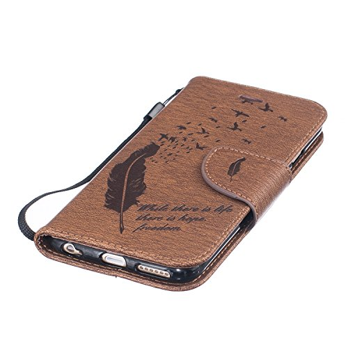 Hanyhülle iPhone 6s Leder, LuckyW PU Leder Feder Vogel Where There is a Life There is a Hope Freedom Muster Hülle für Apple iPhone 6 6S (4.7 zoll) TPU Soft Rückseite Abdeckung Ledertasche Brieftasche  Braun