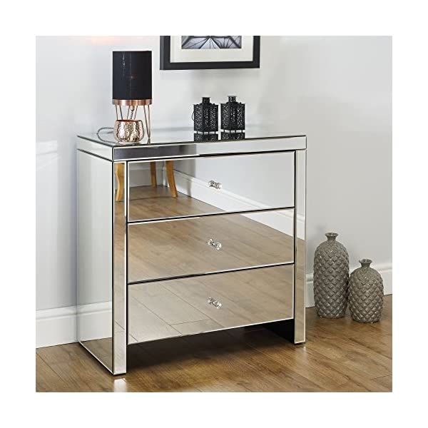 Mirrored Bedroom Furniture, Happy Beds Seville Silver 3 Drawer Chest - Height 82 cm, Width 80 cm, Depth 40 cm Happybeds Height: 82 cm, Width: 80 cm, Depth: 40 cm; Modern mirrored bedroom chest of drawers Elegant and ergonomic crystal style handles 3 deep storage drawers perfect for clothes, towels or bedding 1