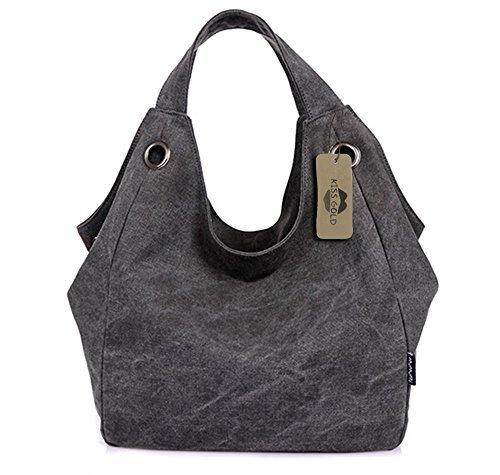 KISS GOLD Damen Schultertasche Canvas Totes Hobo Bag mit einfachem Stil, Grau (Handtaschen Hobo-stil)