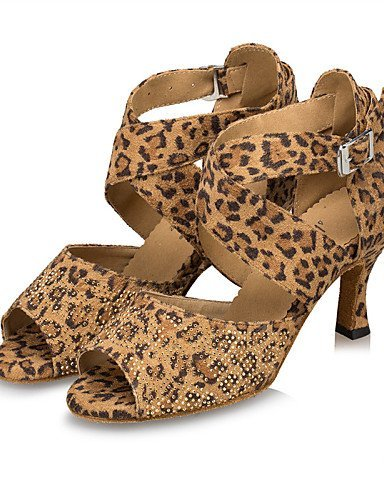 ShangYi Chaussures de danse(Noir / Bleu / Léopard) -Personnalisables-Talon Aiguille-Daim-Latine / Samba leopard