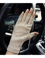 Slip gants section soleil d'été ombre UV courte manches fingerless mince coton