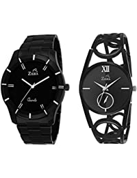 Ziera ZR7003-8035 Black Stainless Steel Couple Watch - For Couple