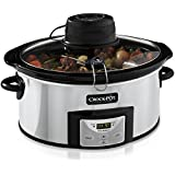 Crockpot 6Qt Polished Stainless Oval Programmable Digital Slow Cooker with Auto Stir System (SCCPVC600AS-P)