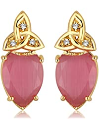 Alamod Gold-Toned Pink Synthetic Stone Stud Earrings FER_079