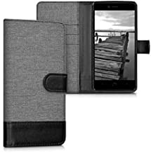 kwmobile Funda para bq Aquaris U Plus - Funda flip Wallet Case de tela con cuero sintético - Cover con tapa con tarjetero y soporte gris negro