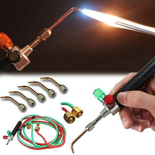 PoeHXtyy Schmuck Micro Mini Gas Little Torch Welding Lötset mit 5 Schweißspitzen für Sauerstoffflaschen -