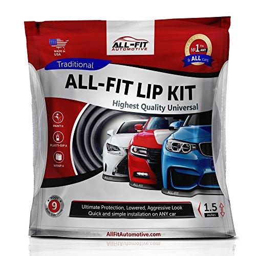 Original All-Fit Lip Kit Universal Spoilerlippe, die Langlebigste Spoiler Lippe zum ankleben und anschrauben, Tuning Frontspoiler, Gummilippe, 3M, 2,7m, Farbe schwarz Größe small 3,8cm breit