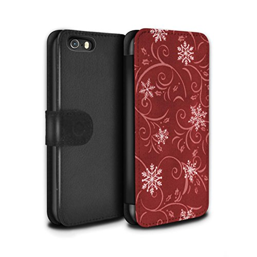 Stuff4 Coque/Etui/Housse Cuir PU Case/Cover pour Apple iPhone SE / Pack (7 pcs) Design / Motif flocon de neige Collection Rouge