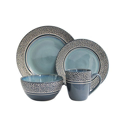 American Atelier 6705-16-RB Mosaic Dinnerware Set, Stoneware, Blue