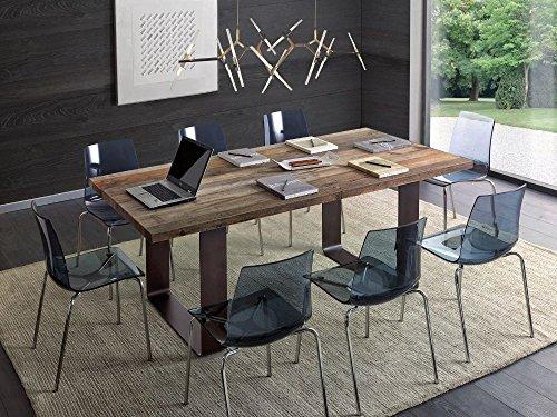 Legno&Design Table rectangulaire séjour Cuisine Bois Massif aulne ciré Jambes Fer