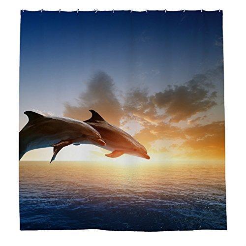 rioengnakg Dolphin Show wasserdicht Polyester Duschvorhang, #1, 72