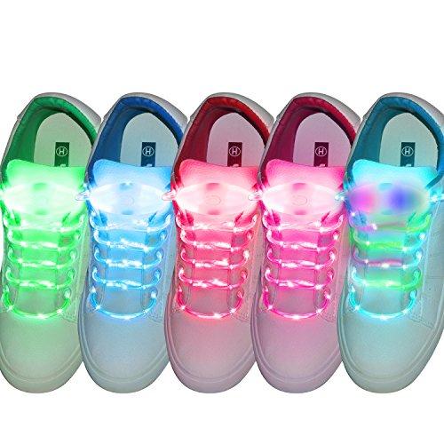 fourHeart LED Schnürsenkel 5 Paar 3 Lichtmodi LED Blinklicht Leuchte Schuhbänder Schnürsenkel für Hip-hop Party Tanz Radsport Klub Disco Karneval Joggen Konzert Geburtstag Geschenk