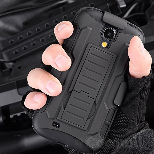 Galaxy S4 Mini Hülle, Cocomii Robot Armor NEW [Heavy Duty] Premium Belt Clip Holster Kickstand Shockproof Hard Bumper Shell [Military Defender] Full Body Dual Layer Rugged Cover Case Schutzhülle Samsung I9190 I9195 (Black)