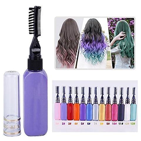 Oyalaiy 13 couleurs Cheveux Coloris Mascara Party Queen Pro Temporaire Vibrant Multicolor Salon DIY