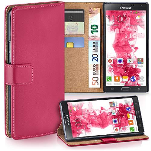 moex Samsung Galaxy Note 3   Hülle Pink mit Karten-Fach 360° Book Klapp-Hülle Handytasche Kunst-Leder Handyhülle für Samsung Galaxy Note 3 Case Flip Cover Schutzhülle Tasche