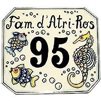 CERAMICHE D'ARTE PARRINI- Ceramica italiana artistica numero civico in ceramica 20x18 personalizzato decorazione pesci, mattonella fatta a mano made in ITALY Toscana