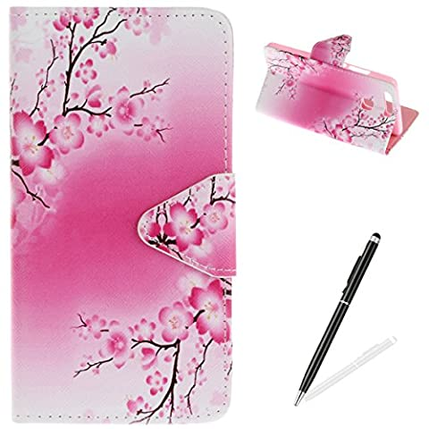 HUAWEI P9 Case,HUAWEI P9 Wallet Case,MAGQI Premium Flip PU Leather Money Pouch Case Colorful Painting Petals Pattern [Stand Function] [Magnetic Closure] Protective with Card Slots Bult-in Soft Inner Bumper Book Style Cover for HUAWEI P9 - Plum
