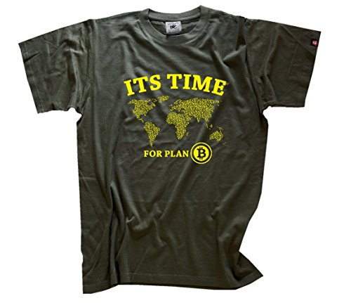 Bitcoin - It´s time for plan B T-Shirt Olive S