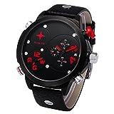 Bescita NORTH Stainless Steel Leather Mens Business Quartz Wrist Watch (Red)