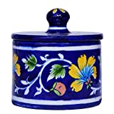 #8: Om Craft Villa Lovely Cotton Jar in Blue Pottery