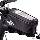 BTR Fahrradtasche und Handy-Halterung - wasserabweisende Fahrradtasche. Schwarz fahrradrahmentasche....