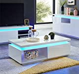 BAITA Cosmos Table Basse à LED, laqué, Blanc, 120cm
