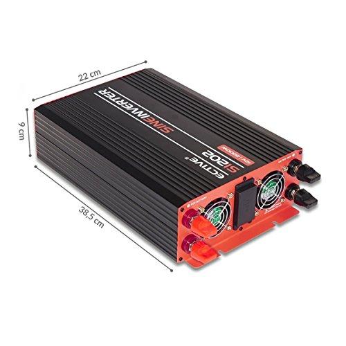 ECTIVE SI-Serie | Sinus Wechselrichter 2000W | 12V zu 230V | 7 Varianten: 300W - 3000W | 12 Volt 2000 Watt Spannungswandler DC auf AC, 12 V auf 230V Stromwandler, Inverter mit reiner Sinuswelle - 2