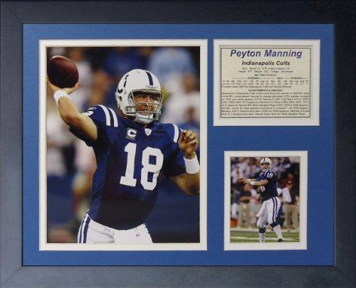 Legenden Sterben Nie Peyton Manning Indianapolis Colts Home gerahmtes Foto Collage, 11x 35,6cm -