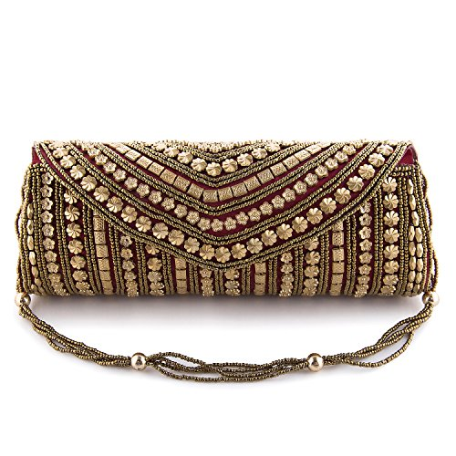 Funkia Women\'s handcrafted, ethnic, designer, golden bead work silk Party Clutch - Maroon