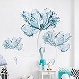 Blu fiore wall sticker,Autoadesivo della parete creativa per camera da letto parete decorazione adesivi autoadesivi tappezzeria-A 110x180cm(43x71inch)
