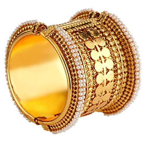 muck Indischen Bollywood Antik Vergoldet Faux Pearl Coin-Stil Armband Armreif (1Stück) für Frauen ()