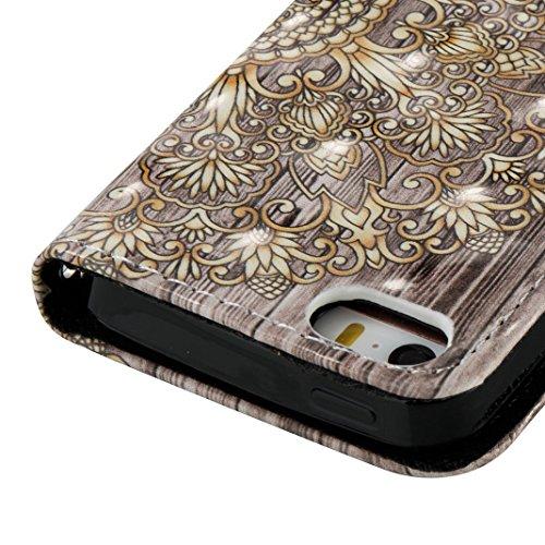 iPhone SE Hülle, iPhone 5S Case, Rosa Schleife iPhone Handyhülle PU Ledertasche Flip Wallet Cover Bookstyle Case Standfunktion Magnetverschluss Schutzhülle TPU Silikon Bumper Schale für iPhone 5 mit E B-Gold Mandala