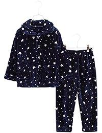 Flannel Niños pijama traje de baño suave Velvet Sleepwear Blue Star Nightcloth