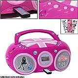 CD Spieler Stereo Radio USB Anlage Mädchen Kinder Zimmer im Set Inklusive Monster High Aufkleber