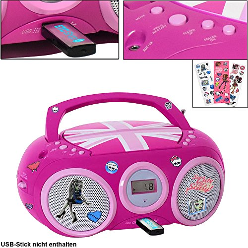 CD Spieler Stereo Radio USB Anlage Mädchen Kinder Zimmer im Set inklusive Monster High Aufkleber (Cd Player Lila Mädchen)
