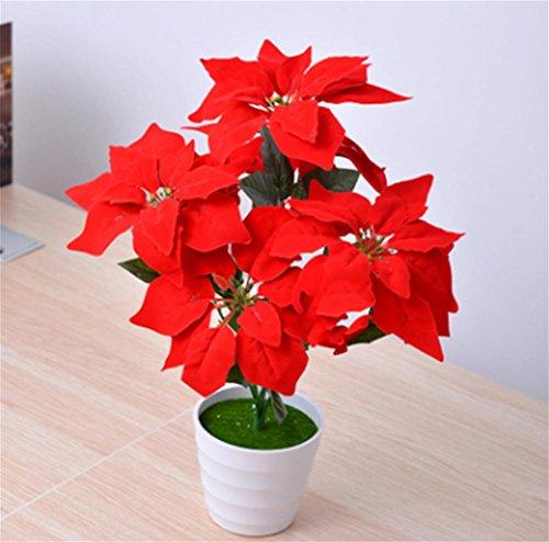 Simulazione pianta, fiore di natale 7natale rosso, fiore, fiore di seta sintetici, finto fiore pianta decorazione, verde, una stella di natale in vaso arredamento, white, 7 sets of christmas white basins
