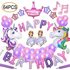 Idea Regalo - 64pcs Unicorn Party Decoration Supplies Yidaxing 2pcs Enorme Palloncino Unicorno 1pcs Buon Compleanno Ballon Banner e 48pcs Lattice Ballons del Partito per ragazze bambini bambino (Rosa Viola)
