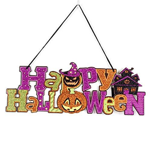 Wansan Halloween Tür Hängende Dekoration Bunte Glitter Pulver Brief Dekoration für Indoor Outdoor Mall Fenster Bar