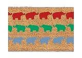 Faba Home Kokos Fußmatte Kokosvelour Schmutzfang, Elefanten, sehr robust, wetterfeste Türmatte, Fußabtreter 68 x 40 x 2 cm (+/-2cm)