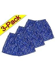 Dimensions :  bleu-blanc-pack de 3 caleçons motif éléphants pour homme en satin brillant