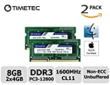 Timetec Hynix IC Apple 8GB Kit (2x4GB) DDR3 1600MHz PC3-12800 SODIMM Memory Upgrade For MacBook Pro 13-inch/15-inch Mid 2012, iMac 21.5-inch Late 2012/Early 2013,27-inch Late 2012/ 2013,Retina 5K display Late 2014/Mid 2015,Mac mini Late 2012/ Server (8GB Kit (2x4GB)) immagine