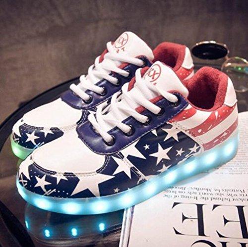 [+Piccolo asciugamano]Luci LED colorati bagliore e ricarica scarpe dargento nuovo scarpe casual USB maschio luminoso e di coppia scarpe femmin c11