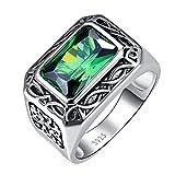 Bonlavie Ring Herren 925 Sterling-Silber Smaragd Schmuck