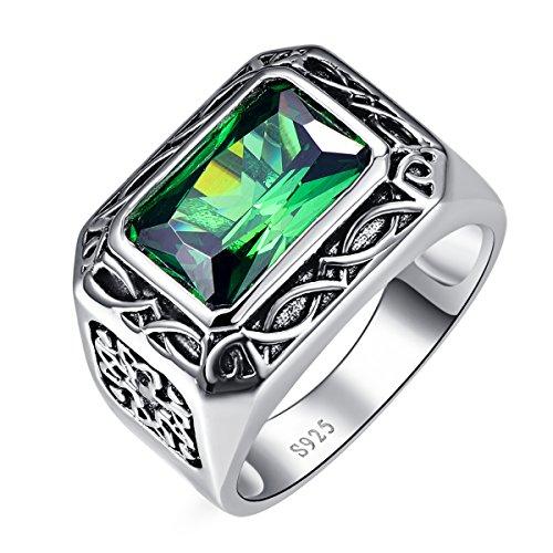 Bonlavie Ring Herren 925 Sterling-Silber Smaragd Schmuck Ehering Verlobungsring Hochzeits Ring, Größe 52 bis 71